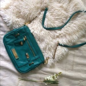 teal and gold crossbody bag